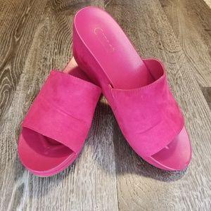 Pink suede Carlos Santana slides